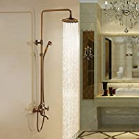 Bathroom Luxury Dual Handles With Hand Shower Mixer Tap Wall-mounted Rainfall Shower Faucet United .Antique Brass Y47847 by Detroit Bathware - Antique Brass Shower Faucet