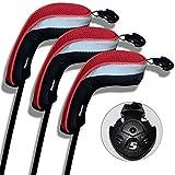 Andux ゴルフ ハイブリッド クラブヘッドカバー 交換可能な番号タグ付き 3個セット (ブラック/レッド)