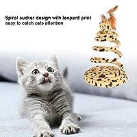猫のおもちゃ、ペットのための面白い猫のお誘いスパイラル吸盤ヒョウ春の毛皮のようなマウスのおもちゃ(黄)
