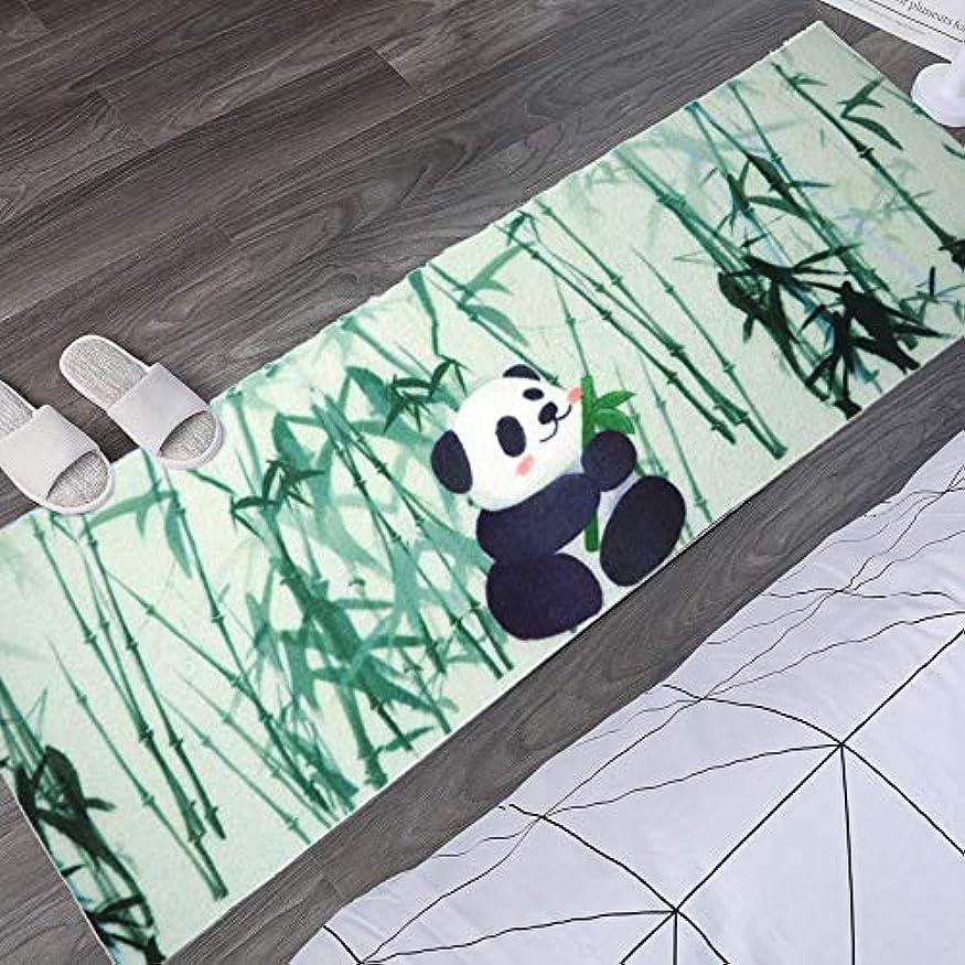 ソート若者彫る洗えるパンダ柄玄関マット 滑り止め加工 屋内屋外兼用ドアマット泥落としマット 廊下 バス キッチン用ラグ(50x120cm)