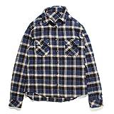 (ファッションレター)FashionLetter レディース ファッション チェック 柄 長袖 半袖 シャツ ブラウス b172 (M,ネイビー)