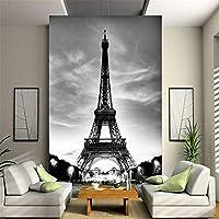 Ansyny カスタム3D壁壁画写真の壁紙エッフェル塔パリ市郷愁グレーの壁の接触紙用リビングルームテレビソファ背景-220X140CM