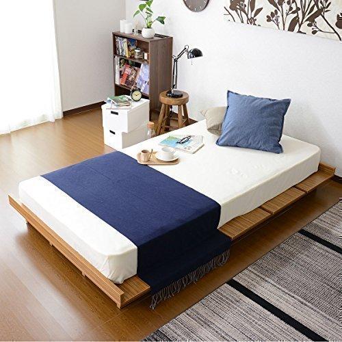 (DORIS) ベッド ダブル フレームのみ 【ゼスト ウォルナット】 ロースタイル フロアベッド 組み立て式 すのこ仕様 ヘッドボードレス (KIC)