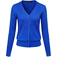 Awesome21 Women's Basic Solid V-Neck Button Closure Long Sleeves Sweater Cardigan