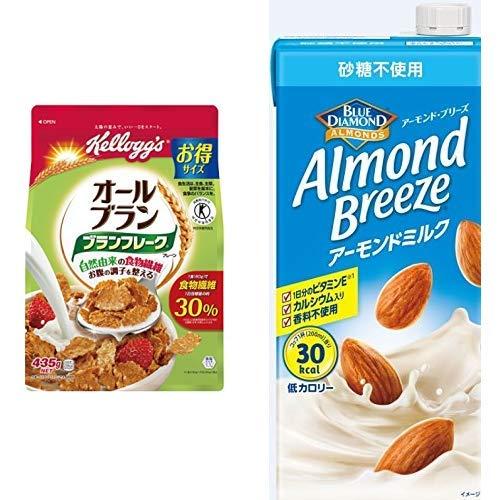 【セット買い】[トクホ] ケロッグ ブランフレーク プレーン 徳用袋 435g×6袋 + アーモンド・ブリーズ 砂糖不使用 1L×6本