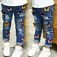Children's Clothing Girls Spring and Autumn Jeans Butterfly Hole Baby Trousers BabyProducts