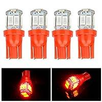 DADANGSH 4本T10 5630 10SMD LEDサイドメーカーライトカードアランプインテリア電球赤点灯 LEDカーライト