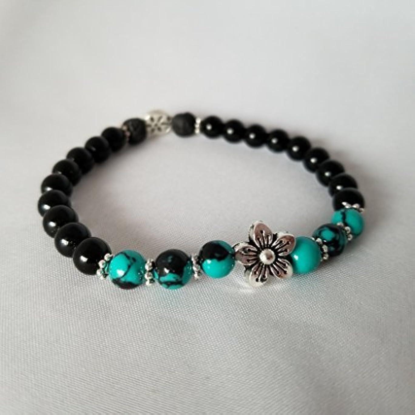 マーベル限定場所Handmade Turquoise Black Jasper and Black Lava Essential Oil Diffuser Bracelet featuring Silver Plated Flower...