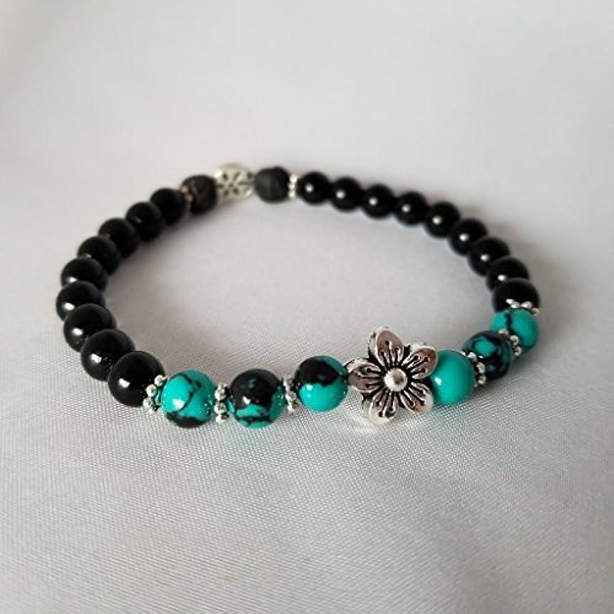 従事した堂々たるチョップHandmade Turquoise Black Jasper and Black Lava Essential Oil Diffuser Bracelet featuring Silver Plated Flower...