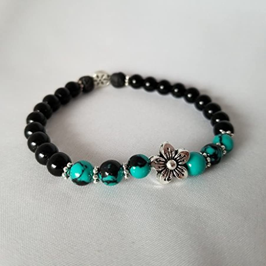 特許ステージショートカットHandmade Turquoise Black Jasper and Black Lava Essential Oil Diffuser Bracelet featuring Silver Plated Flower...