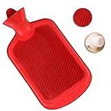 天然ゴムの湯たんぽの大きなキャンプウォーマー大きなお湯バッグ、熱い圧縮熱療法のための耐久性のあるお湯パック、痛みの軽減に最適 red