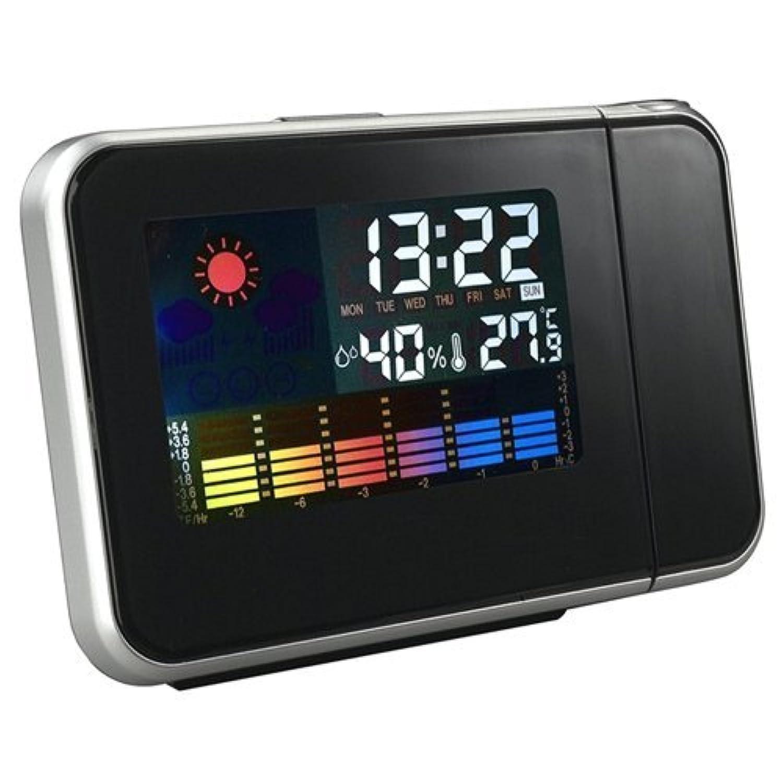 目覚まし時計,SODIAL(R)デジタル天気温度湿度ウォールプロジェクション スヌーズ目覚まし時計LEDディスプレイー