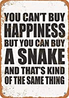 Shimaier ブリキ 看板 壁の装飾 メタルサイン You Can't Buy Happiness But You Can Buy a Snake ウォールアート バー カフェ 30×40cm ヴィンテージ風 メタルプレート