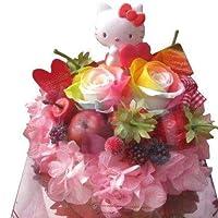 結婚祝い キティ入り 花 フラワーギフト ケーキ レインボーローズ プリザーブドフラワー入り ケース付き