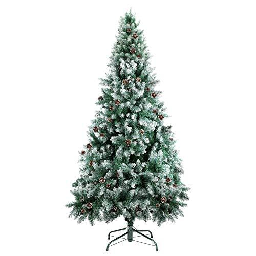 SHareconnn クリスマスツリー 180cm 枝数700本 松かさ付き 雪化粧 北欧 高濃密度 組立簡単 収納便利 クリスマス飾り/プレゼント 緑