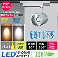 LEDダクトレール LEDライティングバー用 グローバルラン LEDスポットライト 60w 6600lm 配線工事不要  簡単取付 ダクトレール ライティングレール 天井照明 照射角度:10度/25度 超高演色性85-90Ra 首振り90°回転360° (照射角度:25度, 昼白色(5000k))