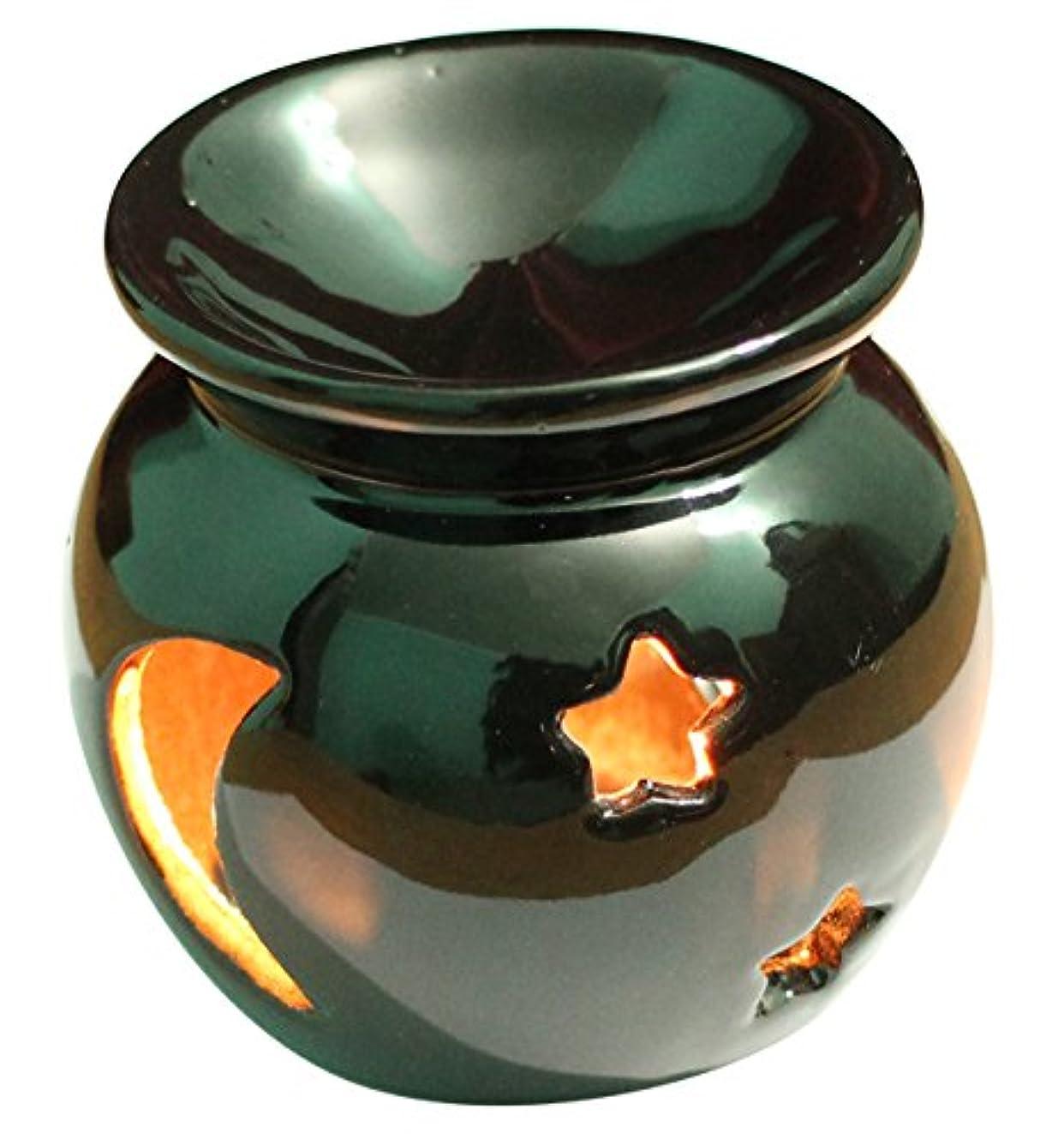 助言する必需品アクセシブルAb Handicrafts – セラミック – Essential Oil Burner、完璧ハンドメイドOil Diffuser for Fragrance &アロマセラピー – 素晴らしい装飾のリビングルーム、バルコニー、ポーチ& Garden ブラック AB-oil