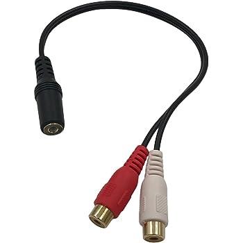 3.5mmステレオミニプラグ(メス)とRCA×2(赤・白)(メス)ケーブル 20cm 金メッキ仕様