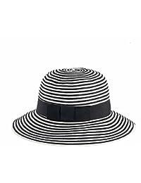 軽量 日焼け止め 折りたたみ 麦わら帽子 女性 夏 帽子 白と黒のストライプ 青と白の縞 (色 : Black White)