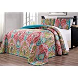 """3-Piece Oversize (100"""" X 95"""") Fine Printed Prewashed Quilt Set Reversible Bedspread Coverlet Full/Queen Size Bed Cover (Turqu"""