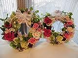 プリザーブドフラワー 永遠に続く幸せ花リース バラや西洋アジサイ、華やかにアレンジ。玄関やリビングプレゼントにも (ピンク)