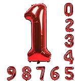 40インチのバルーン0-9(ゼロナイン)レッドナンバーマイラー誕生日パーティーのアラビア数字1