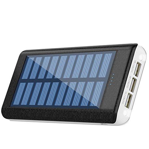 RuiPu ソーラーチャージャー モバイルバッテリー 24000mah大容量 電源充電可 QuickCharge 超急速充電対応 スマホ充電器3USB出力ポート(2A+2A+1A) 携帯用の充電器 二個LEDランプ搭載 災害/旅行/アウトドアに大活躍に対応 収納防水ボーチ付属(BLACK)