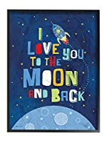 Stupell Home Décor 「I Love You to the Moon and Back」特大フレーム入りジークレーテクスチャアート、16 x 1.5 x 20、自信を持ってお勧めできる米国製。