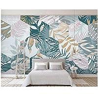 """カスタムファッションの絹のような壁紙-北欧熱帯植物の葉の幾何学的な線-テレビの背景-壁紙-家の装飾-300(W)x200cm(H)(9'2""""x5'11"""")ft"""