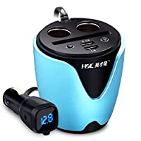 Liebeye 車載充電器 自動車 エネルギー カップ 1から2 デュアル USB ポート 電圧検出カップ付き ブルー
