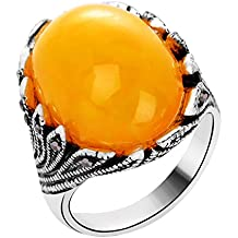 Yiwa 18K Stylish Ancient Silver Agate Ring Retro Finger Ring