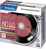 三菱化学メディア Verbatim 音楽用CD-R 80分 1回録音用 「Phono-R」 48倍速 5mmケース 10枚パック レコードデザインレーベル 5色カラー MUR80PHS10V1