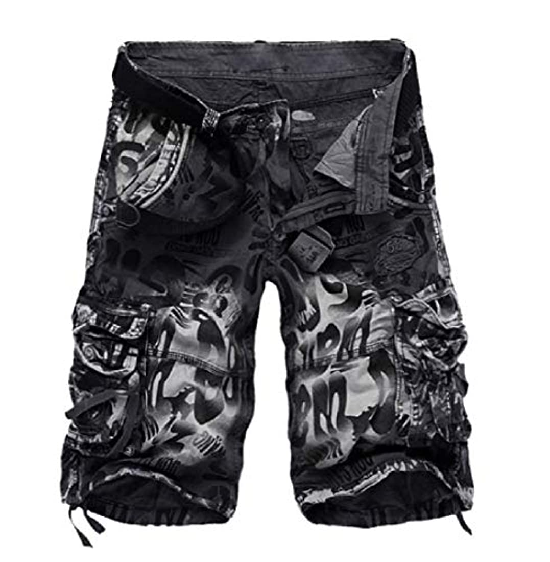 バレーボール粉砕する実行Aooword メンズミディショーツファッションマルチポケット迷彩カーゴショーツ