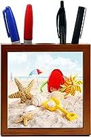 Rikki Knight 5-Inch Beach Toys on Beach Design Wooden Tile Pen Holder (RK-PH1087) [並行輸入品]