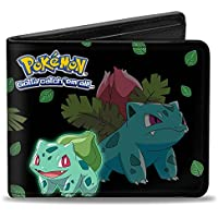 Buckle Down Men's Wallet Bulbasaur Evolution Poses/Pokamon Logo Black/Green L Accessory, Multi, One Size