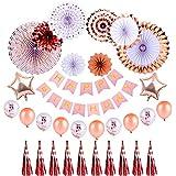 Better Stars 誕生日 飾り付け セット バースデー パーティー 飾り ローズゴールドカラー ペーパーファン HAPPY BIRTHDAY ガーランド タッセル バルーン 風船 デコレーション おしゃれ 装飾