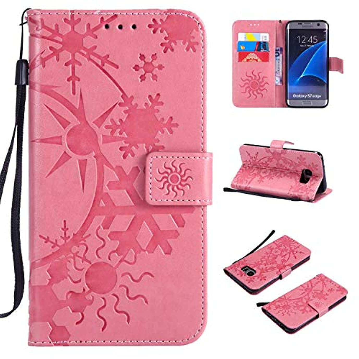 閉塞漫画抵抗Galaxy S7 Edge ケース CUSKING 手帳型 ケース ストラップ付き かわいい 財布 カバー カードポケット付き Samsung ギャラクシー S7 Edge マジックアレイ ケース - ピンク