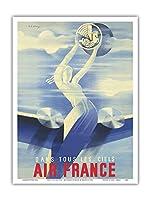 エアフランス - すべての空に - ビンテージな航空会社のポスター によって作成された ロジャー・デ・ヴァレリオ c.1935 - アートポスター - 23cm x 31cm