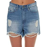 Res Denim Women's Womens String It Out Short Cotton Fitted Blue