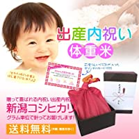 【出産祝いのお返しに】赤ちゃん体重米(赤ちゃんと同じ重さのお米)だっこしてね! 風呂敷包み のし紙・メッセージカード(イラストタイプ)付き