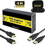 HDMI to USB 3.0 ビデオキャプチャー 4K HDMIゲーム録画 HDMIビデオ録画 ライブ配信用キャプチャーデバイス Xbox Wii U PS3 PS4用サポートHDCP Mac Windows Linux Youtube OBS Twitch Gracetop GT-HU3