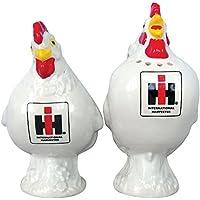 Case International Harvester White Rooster Hen Stoneware Salt and Pepper Shaker Set