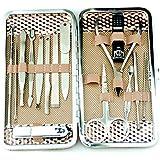 16イン1ステンレス鋼爪切りセット、マニキュアペディキュアグルーミングキット女性用、ネイルケアキットポータブル収納ケース付き