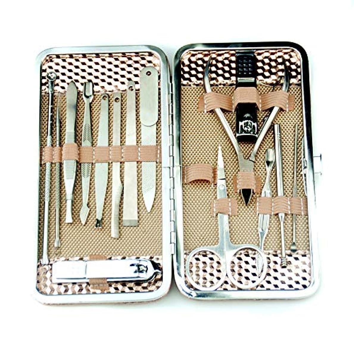 合理化レッスン酒16イン1ステンレス鋼爪切りセット、マニキュアペディキュアグルーミングキット女性用、ネイルケアキットポータブル収納ケース付き