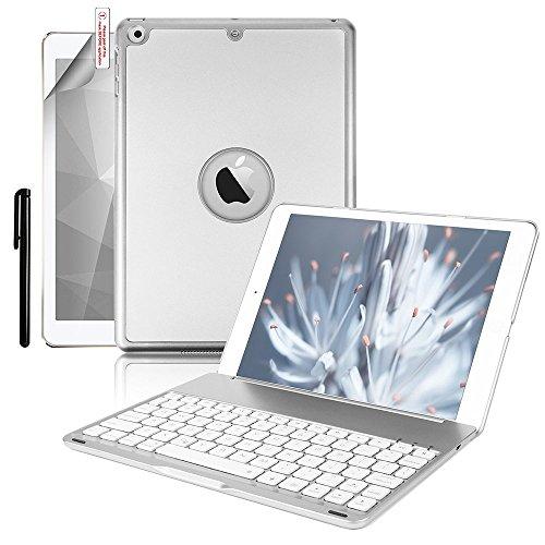 Boriyuan iPad 9.7インチ用 キーボードケース スリムフィット ハードシェル 保護ケース 7色のバックライト Bluetooth ワイヤレスキーボード用カバー iPad 9.7インチ 2017年モデル対応 (Proには非対応) ゴールド 9.7 Inch シルバー