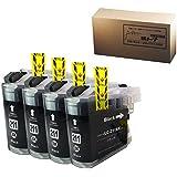 【横トナ オリジナル品】 LC211BK ICチップ付き  ブラック4本セット ブラザー Brother 互換インクカートリッジ  対応機種:DCP-J562N/DCP-J762N  JAN:4580445285805
