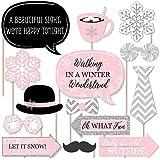 ピンクウィンターワンダーランド - ホリデー雪の結晶 誕生日パーティー ベビーシャワー フォトブース小道具キット - 20個
