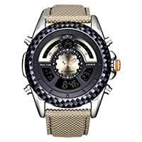 Men's watch 外スポーツ多機能電子時計メンズレインコートレザーウォッチを見ます watch (色 : Beige)