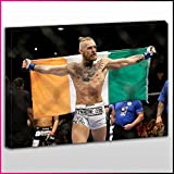S521 UFC Conor The Notorious McGregor Arms Out Flying Tri-Colour Irish National Flag Dethrone Tattoos Unique Framed Ready To Hang Canvas, Sport, Pop Street, Wall Art, Picture by What's On Your Wall [並行輸入品]