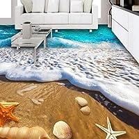 山笑の美 壁画壁紙フロアステッカーフレスコ画 カスタムの大きなフレスコ画のビーチ地獄防水防水肥厚摩耗-400X280CM